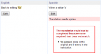 Translation with formatting strings mismatch