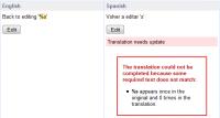 Translation with formatting strings mismatch