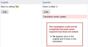 Traducción con discrepancia entre los parámetros de formato