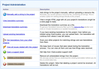 Project Adminstration section for Software Localization