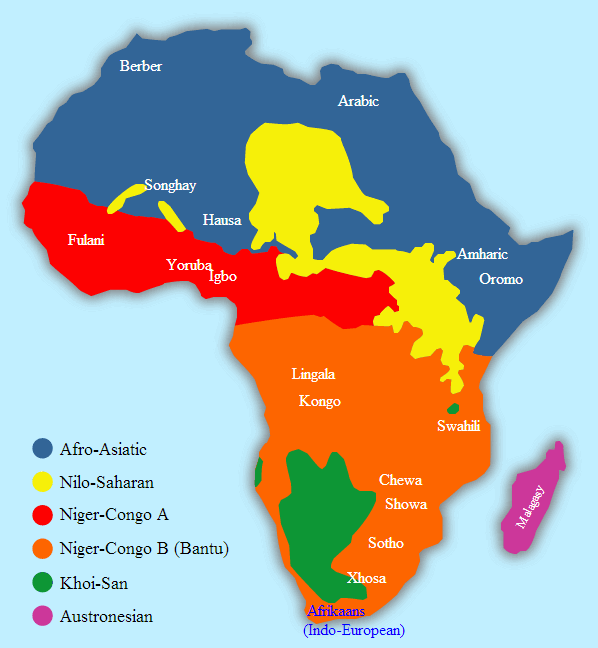 map of languages spoken in africa African Languages Spoken By Millions map of languages spoken in africa